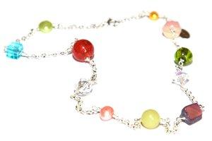 Halsband i sterlingsilver med färgglada stenar