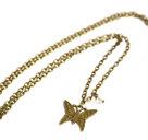 Bronsfärgat halsband med fjäril